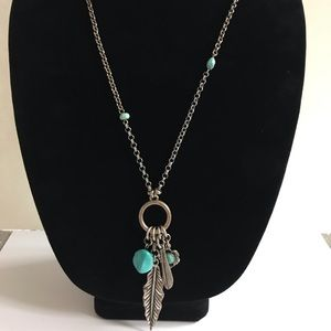 Lucky brand long hanging silver turquoise necklace